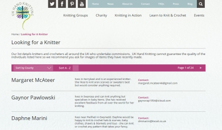 You will be able to search for knitters, yarn shops and knitting groups in our new directories