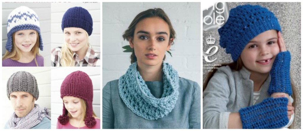 Caption; There are lots of quick hat and cowl patterns available – these examples are from Hayfield, Rowan and King Cole