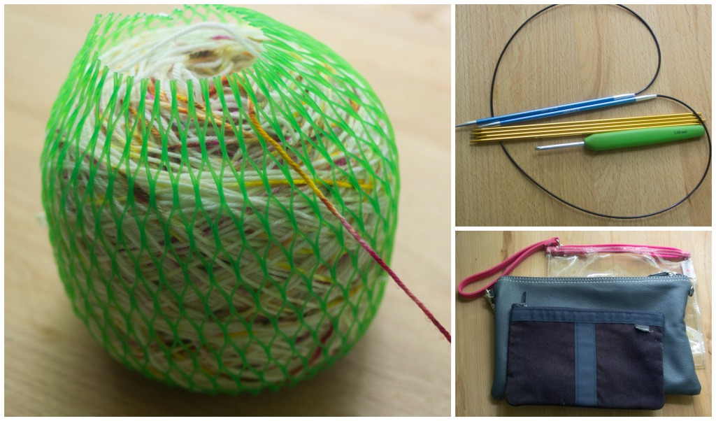 KIP kit: Centre pull balls in yarn cosies reduce the chance of your yarn staying on the train when you reach the platform. DPNs and circular needles take up less space and make up bags and similar are great for small projects