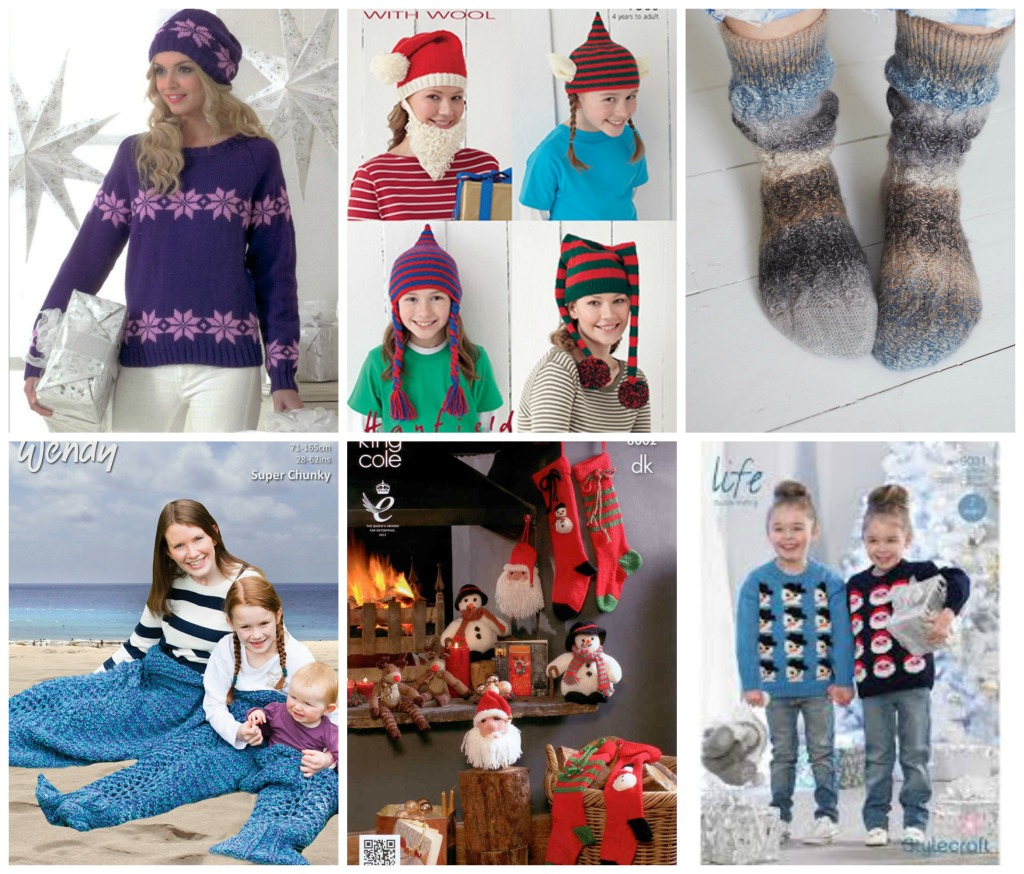 Christmas inspiration. Nordic sweater from James C Brett (jb193); Fun hats from Hayfield; Slouchy cable socks by Debbie Bliss (DB084); Kids sweaters in Stylecraft Life (9031); King Cole Christmas selection (8002); On trend Mermaid blankets by Wendy (6022)