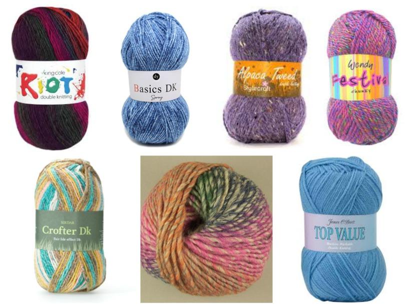 Clockwise from top left: King Cole Riot DK (70% acrylic, 30% wool) http://www.kingcole.com/knitting-wool/riot-dk/: DY Choice Basics DK Spray (100% acrylic) http://www.designeryarns.uk.com/yarn/basics-dk-spray/ : Stylecraft Alpaca Tweed (77% acrylic, 20% alpaca, 3% viscose) http://www.stylecraft-yarns.co.uk/Alpaca+Tweed/0_caea525_CAFA092.htm : Wendy Festival Chunky (100% acrylic) http://www.tbramsden.co.uk/catalog/yarns/wendy-fashion/wendy_festival_chunky : James C Brett Top Value DK (100% acrylic) http://www.jamescbrett.co.uk/yarn/top-value-dk : Rico Melange Chunky (53% wool, 47% acrylic) http://www.rico-design.de/en/hand-knitting/winter/creative-melange-chunky.html:  Sirdar Crofter DK (60% acrylic, 25% cotton, 15% wool) http://www.sirdar.co.uk/yarns/classics/dk/Crofter%20DK