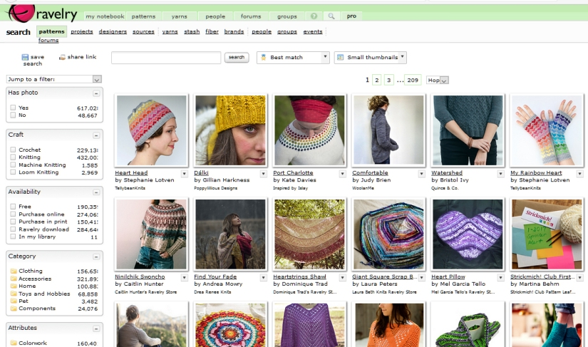 ravelry pattern search