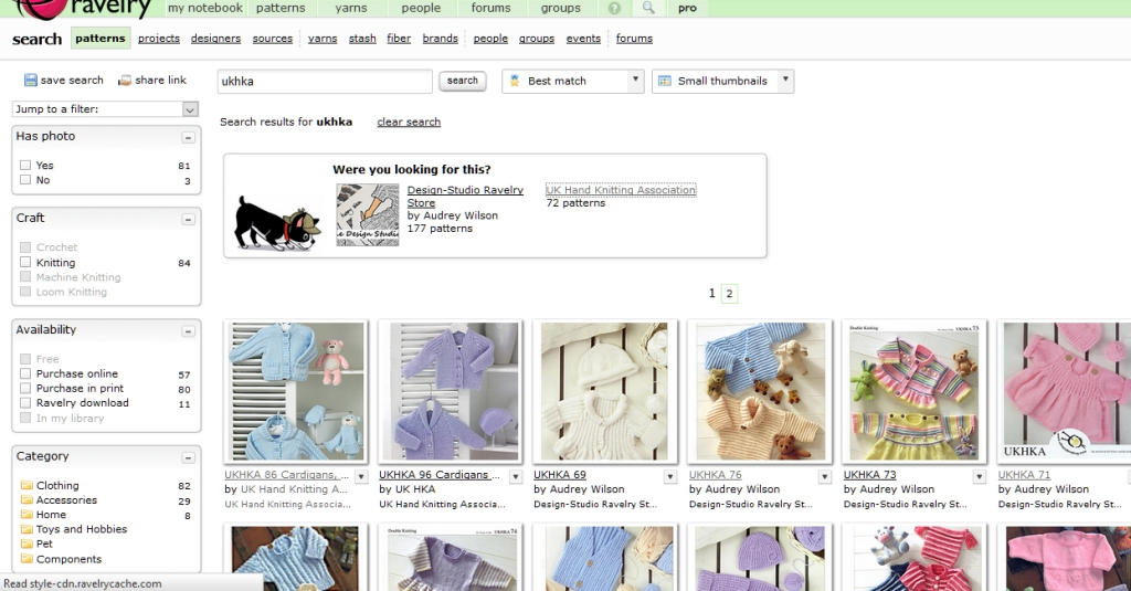 ravelry pattern search